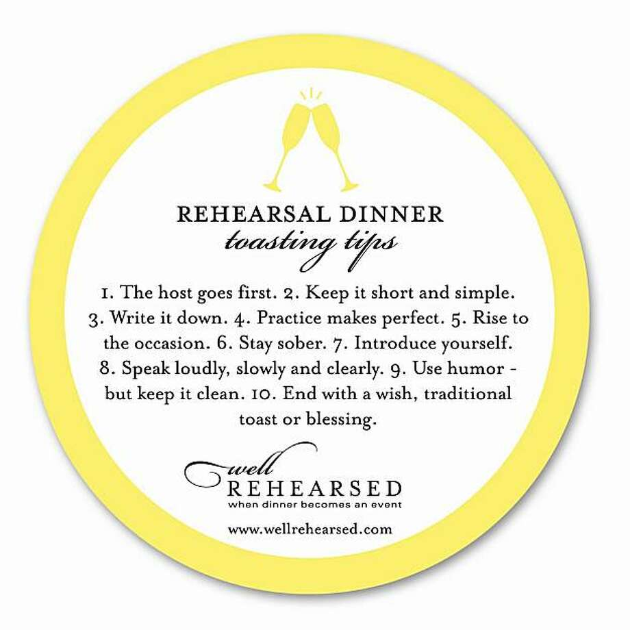 A drink coaster offers toasting tips at rehearsal dinners Photo: Courtesy Of Kathy Goodman