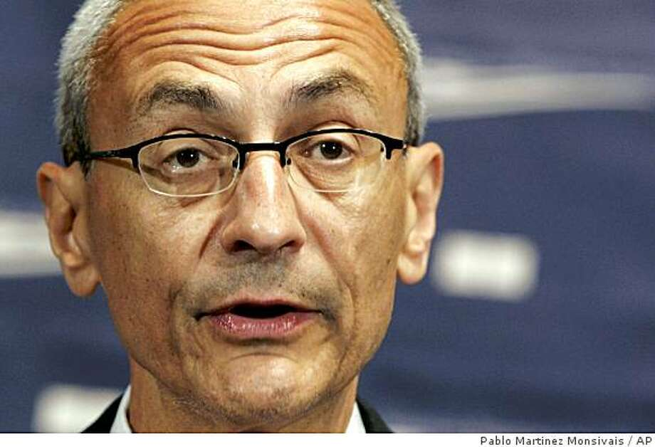 ** FILE ** In this June 27, 2007 file photo, John Podesta speaks at the National Press Club in Washington.  Should Democratic presidential candidate Sen. Barack Obama, D-Ill.,  win the 2008 presidential election, one of the first people he will turn to is Podesta, a former White House chief of staff and the man Obama tapped this fall to head his transition planning.   (AP Photo/Pablo Martinez Monsivais, File) Photo: Pablo Martinez Monsivais, AP