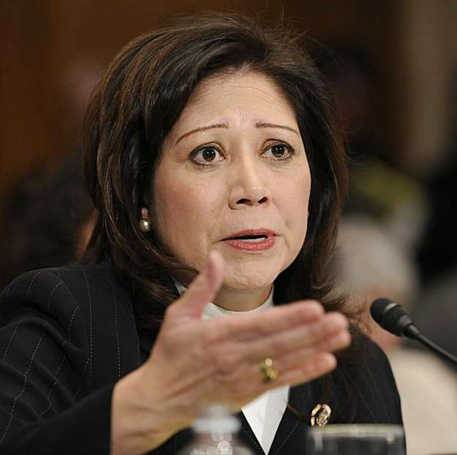 ** FILE ** In this Jan. 9, 2009, file photo, Labor Secretary-designate, Rep. Hilda Solis, D-Calif., testifies on Capitol Hill in Washington. Solis won confirmation Tuesday, Feb. 24, 2009, as President Barack Obama's labor secretary, giving the agency a decidedly pro-worker tilt after years of business-friendly leadership under the Bush administration.(AP Photo/Susan Walsh) Photo: Susan Walsh, AP