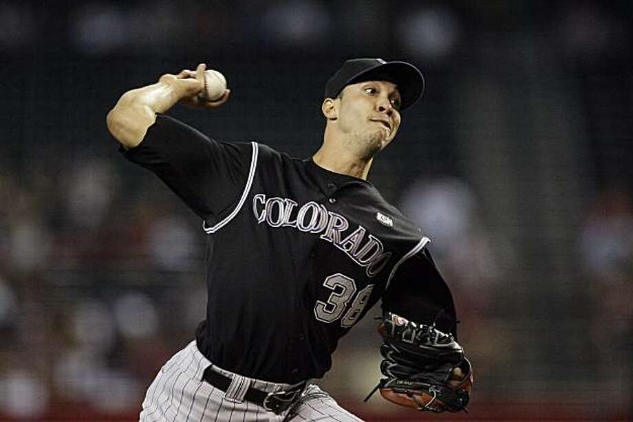 Colorado Rockies' Ubaldo Jimenez throws against the Arizona Diamondbacks during the first inning of a baseball game Sunday, June 6, 2010, in Phoenix. Photo: Ross D. Franklin, AP