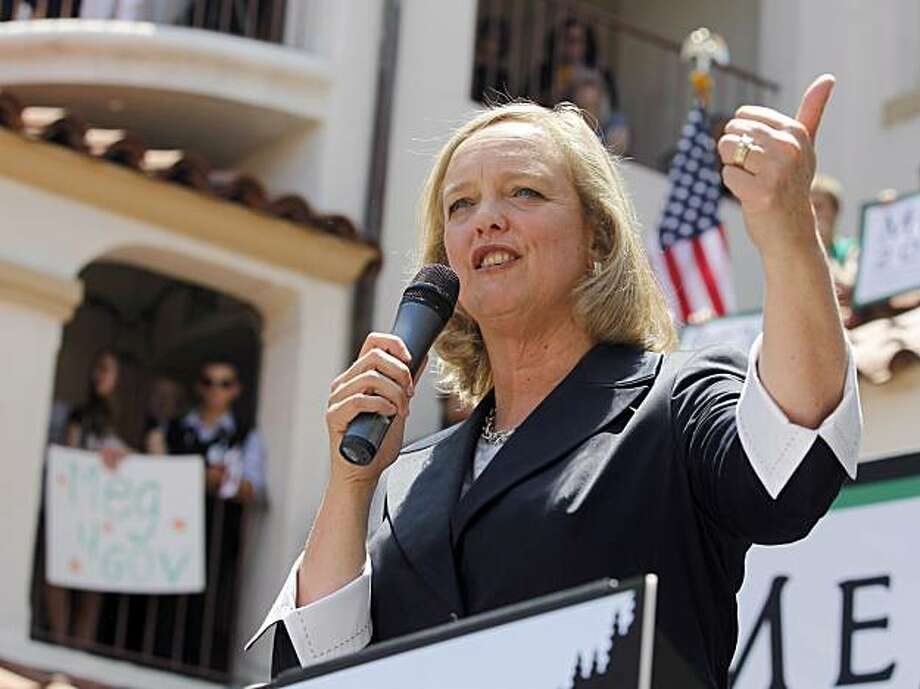 Meg Whitman, a candidate for the Republican nomination for Governor talks to supporters at a rally in Fullerton, Calif., Saturday, June 5, 2010. Photo: Chris Carlson, AP
