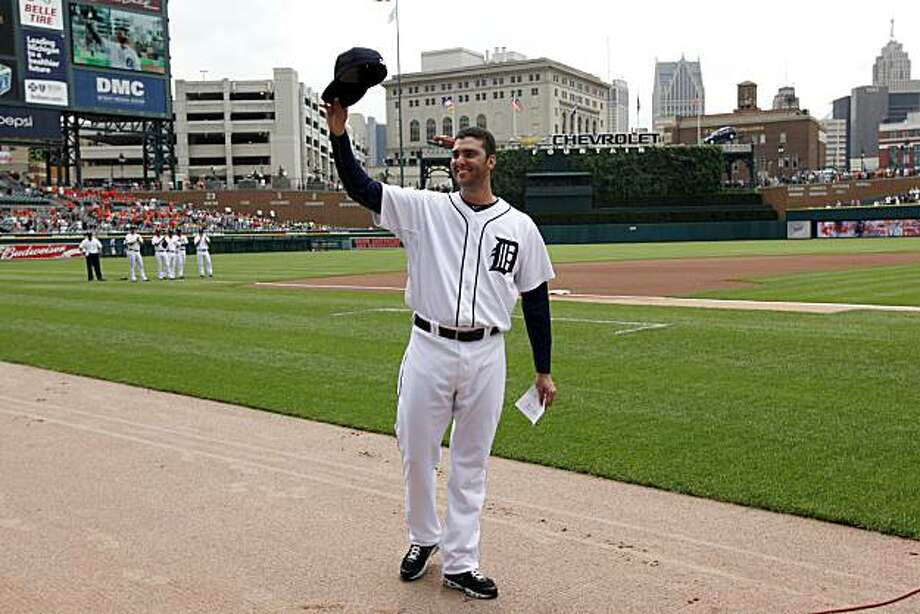 Detroit Tigers pitcher Armando Galarraga tips his hat to fans before a baseball game against he  Cleveland Indians in Detroit Thursday, June 3, 2010. Galarraga lost his bid for a perfect game with two outs in the ninth inning on a disputed call at first base by umpire Jim Joyce on Wednesday night. Photo: Paul Sancya, AP