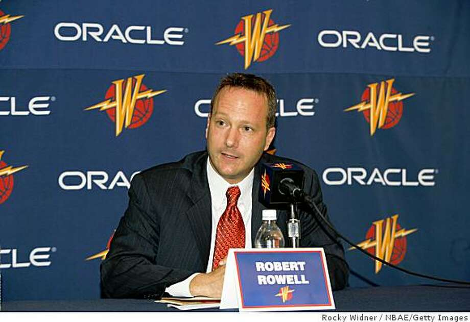 Golden State Warriors President Robert Rowell announces the renaming of the Arena in Oakland to Oracle Arena in a 10-year, $30 million agreement with the database software firm October 30, 2006 in Oakland, California. Photo: Rocky Widner, NBAE/Getty Images