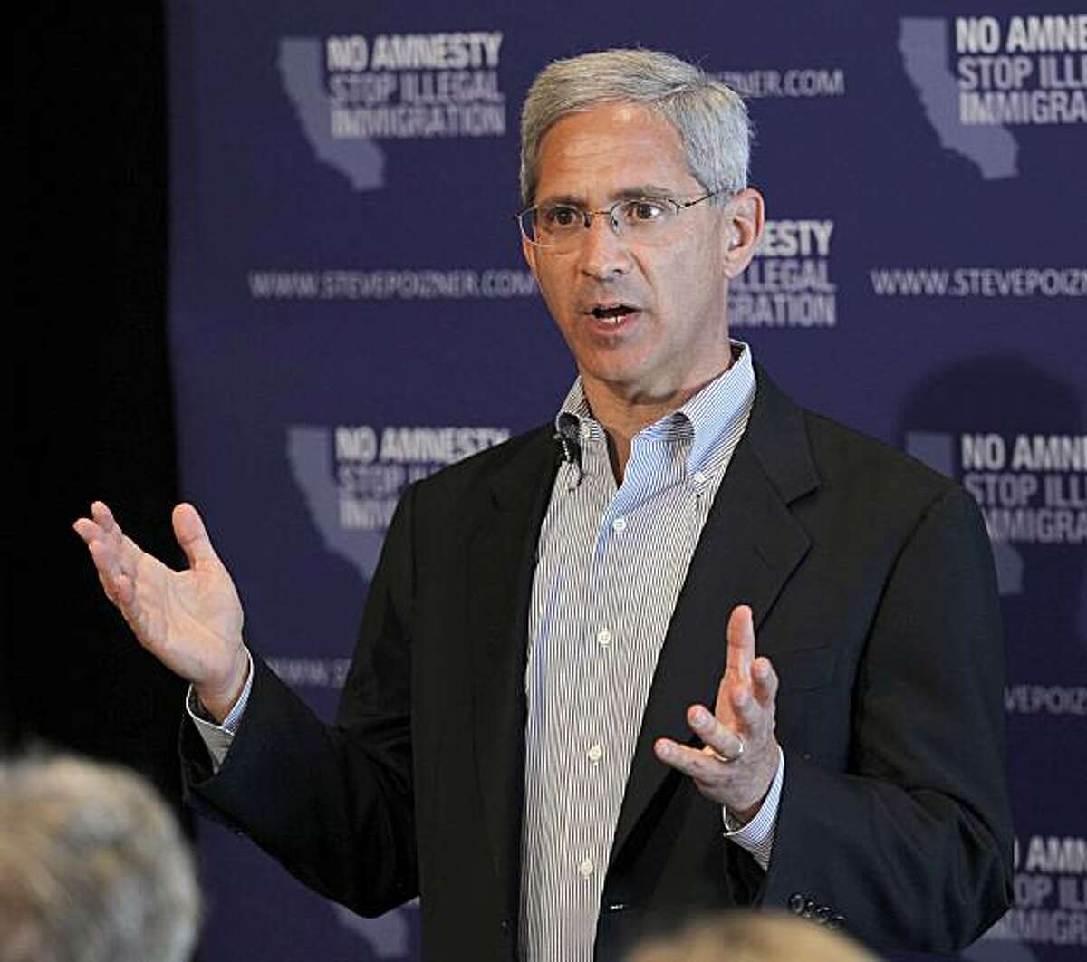 Steve Poizner, a candidate for the Republican nomination for Governor speaks to supporters at a town hall meeting in Riverside, Calif., Saturday, June 5, 2010.