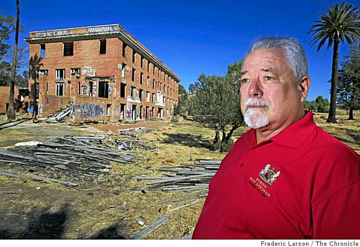 Dave Fowler the owner of the Byron Hot Springs Hotel in Byron Calif., on Friday November 7, 2008, has high hopes to restore the hot spring retreat that for years in the early 1900's was a playground to the rich and famous back to it original design.