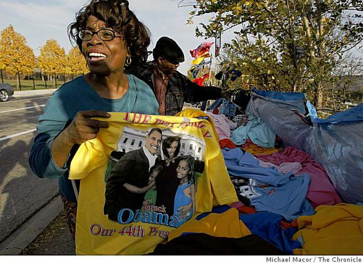 The day after the election of Barack Obama as President of the United States of America, Bernadette Anderson stopped to buy souvenirs on the West Side of Chicago, Ill. on Wednesday Nov. 5, 2008. Anderson took a workshop in Chicago back in 1998 from Barack Obama, entitled Leadership in the Community.