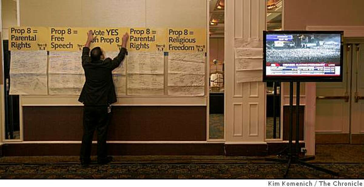 Barack Obama receives enough electoral college votes to become president members of Protect Marriage.com-Yes on Proposition 8 gather at the Sacramento Hyatt Hotel in Sacramento, Calif., on Tuesday, Nov. 4, 2008 to wait returns from the 2008 Presidential election.