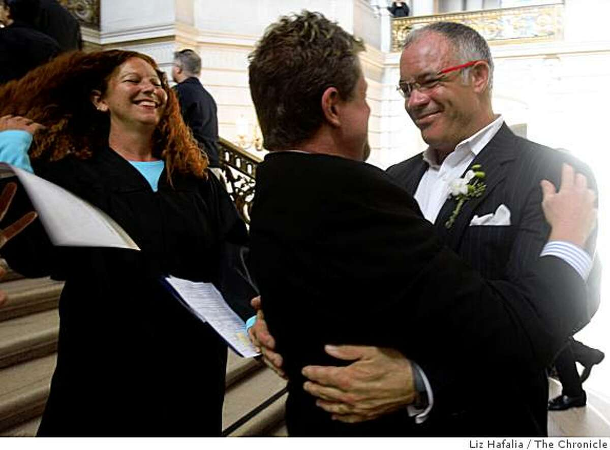 Gary Flieger (left) and John Finck (right) renew their vows for the third time at city hall during election day in San Francisco, Calif., on Tuesday, November 4, 2008.