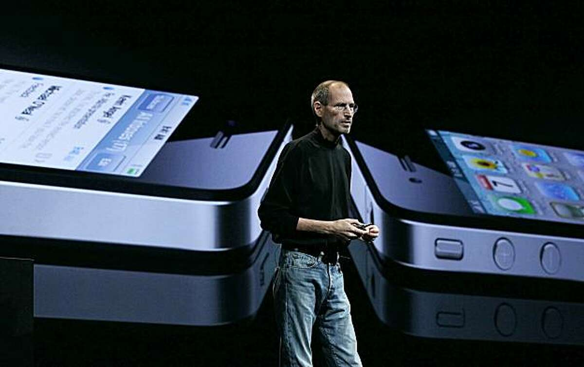 SAN FRANCISCO - JUNE 07: Apple CEO Steve Jobs announces the new iPhone 4 as he delivers the opening keynote address at the 2010 Apple World Wide Developers conference June 7, 2010 in San Francisco, California. Jobs kicked off their annual WWDC with the announcement of the new iPhone 4.