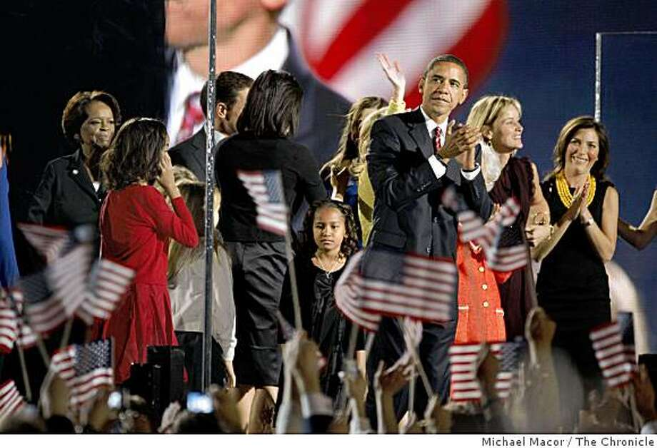 President elect, Barack Obama is joined on stage by family and friends as he holds his election night rally at Grant Park in downtown Chicago, Ill. on Tuesday Nov. 4, 2008. Photo: Michael Macor, The Chronicle