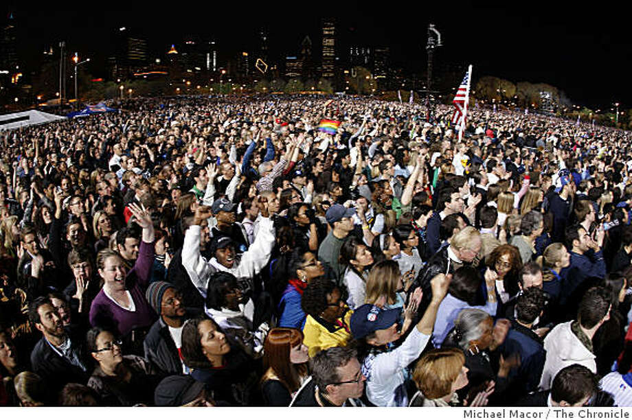 Thousands cheer President elect, Barack Obama during his election night rally at Grant Park in downtown Chicago, Ill. on Tuesday Nov. 4, 2008. Photo: Michael Macor, The Chronicle