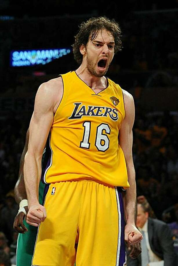 LOS ANGELES, CA - JUNE 03:  Pau Gasol #16 of the Los Angeles Lakers reacts in the second half against the Boston Celtics in Game One of the 2010 NBA Finals at Staples Center on June 3, 2010 in Los Angeles, California.  NOTE TO USER: User expressly acknowledges and agrees that, by downloading and/or using this Photograph, user is consenting to the terms and conditions of the Getty Images License Agreement Photo: Lisa Blumenfeld, Getty Images