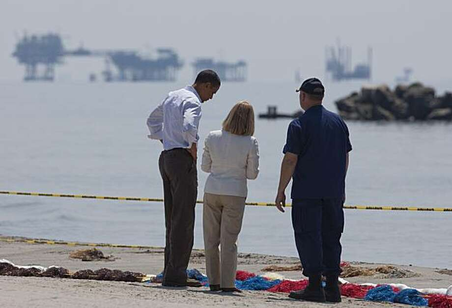 President Barack Obama, left, LaFourche Parish Charlotte Randolph, center, and U.S. Coast Guard Admiral Thad Allen, National Incident Commander for the BP Deepwater Horizon oil spill, take a tour of areas impacted by the Gulf Coast oil spill  on Friday, May  28, 2010 in Port Fourchon, La. Photo: Evan Vucci, AP