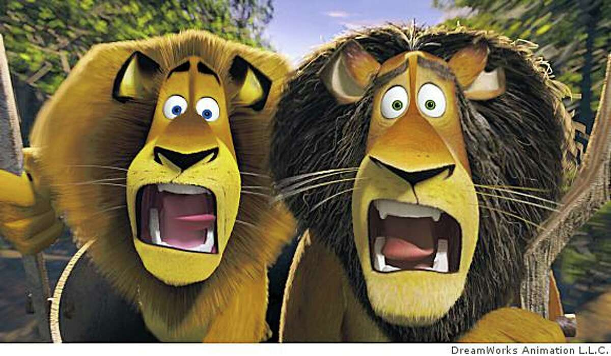 Like father, like son: Alex the lion (left, BEN STILLER) and his father, alpha lion Zuba (right, BERNIE MAC) share a family resemblance and an astounding moment in DreamWorks? ?Madagascar: Escape 2 Africa.?