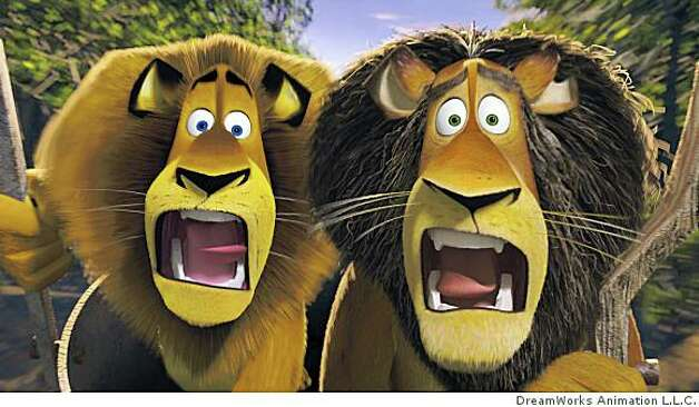 Like father, like son: Alex the lion (left, BEN STILLER) and his father, alpha lion Zuba (right, BERNIE MAC) share a family resemblance and an astounding moment in DreamWorks? ?Madagascar: Escape 2 Africa.? Photo: DreamWorks Animation L.L.C.