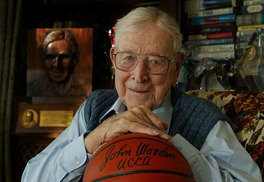 Former UCLA basketball coach John Wooden sits in his home in Encino, California, December 4, 2002. Wooden died at age 99 in Los Angeles, California, on Friday, June 4, 2010. (Michael Kitada/Orange County Register/MCT) Photo: Michael Kitada, MCT