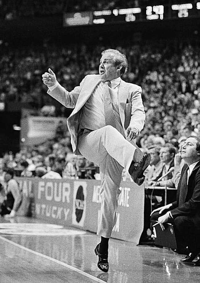 In this April 1, 1985 file photo, Villanova coach Rollie Massimino is up on his toes as he dances his way to victory over Georgetown in the NCAA Championship game in Lexington, Ky. Massimino really made his mark when he led Villanova to the 1985 national championship. Now coaching at tiny Northwood University, Massimino returns to coach against star pupil Jay Wright and the No. 23 Wildcats on Thursday night at the Spectrum. Photo: Bob Jordan, AP