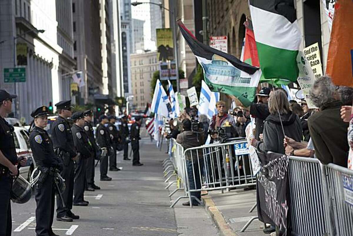 Pro-Palestinian protesters demonstrate in front of the Israeli Consulate on Tuesday in San Francisco.