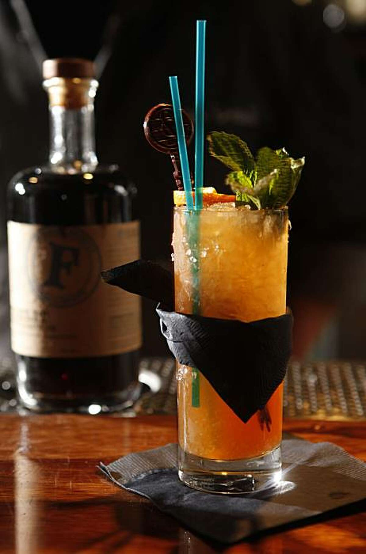 A Rear Admiral's Swizzle, which showcases a coffee liquor called Firelit, is ready for tasting on Thursday May 20, 2010 in San Francisco, Calif.