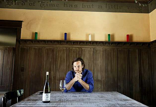 Vintner Andrew Mariani sits inside his 1912 hacienda that he plans to restore. The Scribe Winery in the Carneros area of Sonoma sits on a historic winery parcel off Napa Road.  Vintner Andrew Mariani works with brother Adam Mariani and viticulturalist Andrew Avelar among others on their new label unveiling. Photo: Brant Ward, The Chronicle