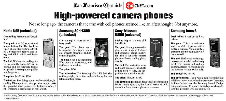 High-powered camera phones (Courtesy of CNET)
