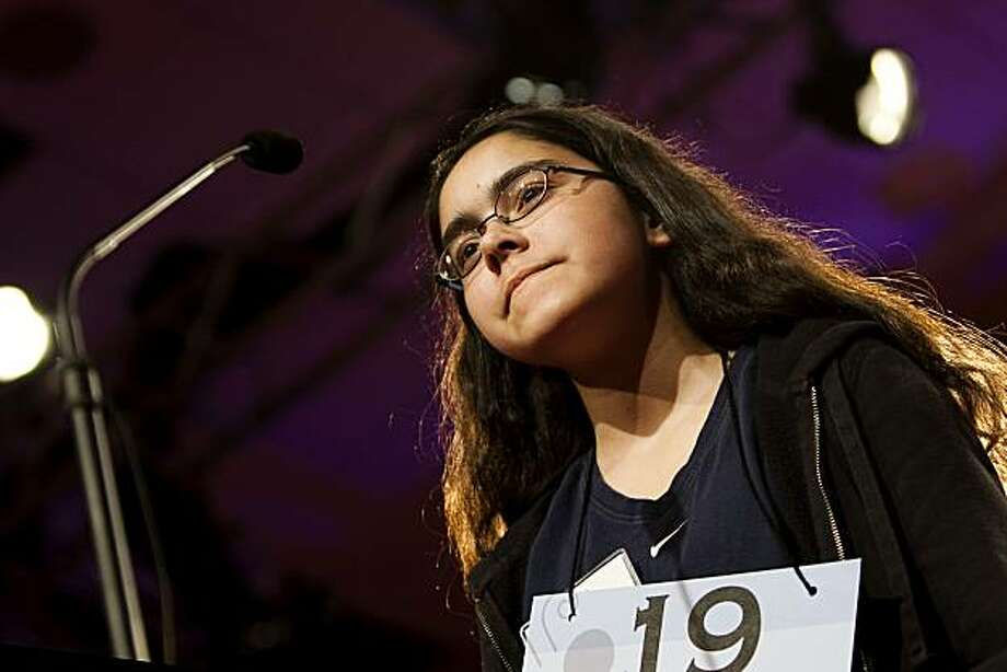Sarah E. Gadre, 14, of Los Altos, Calif., competes during the third round of the 2010 Scripps National Spelling Bee in Washington, Thursday, June 3, 2010. Photo: Drew Angerer, AP