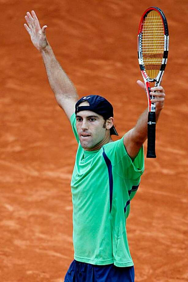 PARIS - MAY 29:  Robby Ginepri of the United States celebrates winning match point during the men's singles third round match between Juan Carlos Ferrero of Spain and Robby Ginepri of the United States at the French Open on day seven of the French Open atRoland Garros on May 29, 2010 in Paris, France. Photo: Matthew Stockman, Getty Images