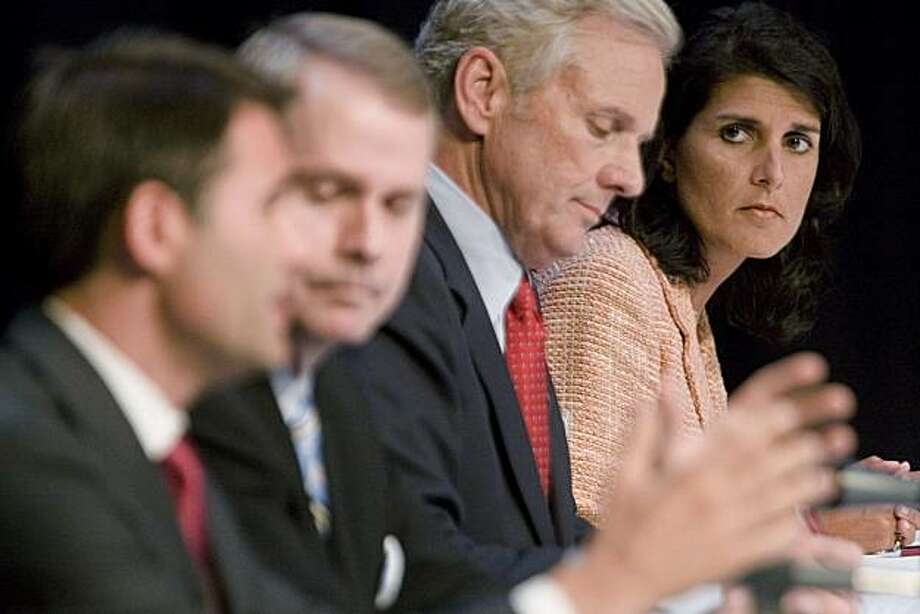From left, Lt. Gov. Andre Bauer, U.S. Rep. Gresham Barrett, state Attorney General Henry McMaster and state Rep. Nikki Haley participate in the debate among candidates for the Republican nomination for South Carolina governor, Tuesday, June 1, 2010, in Florence, S.C. Photo: John D. Russell, The Morning News