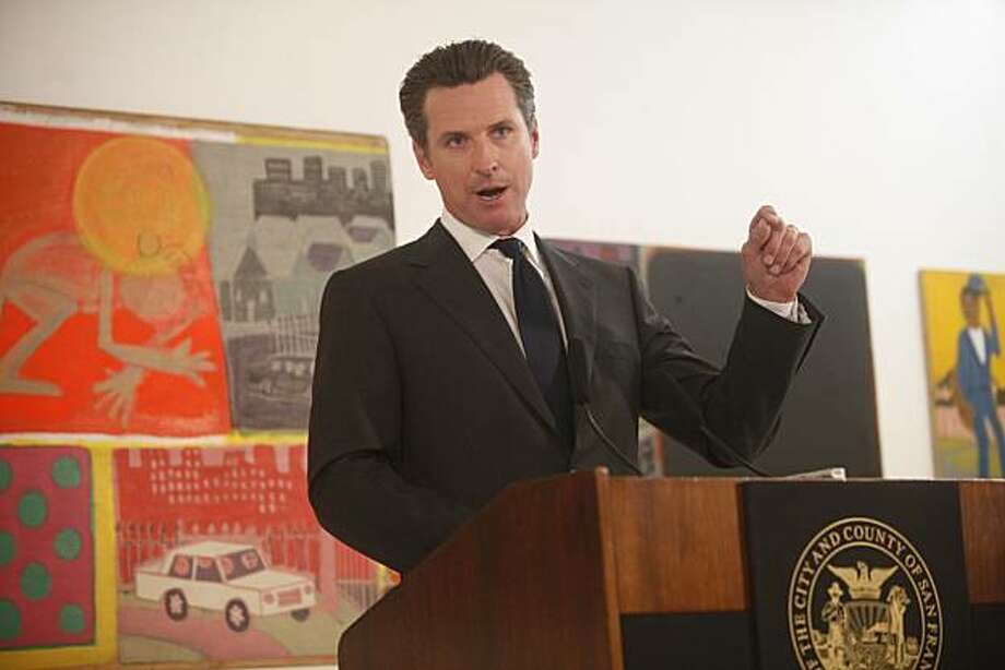 San Francisco Mayor Gavin Newsom talks about his newest budget plans during a press conference held at The Luggage Store Art Gallery on Market Street, Tuesday June 1, 2009 in San Francisco, Calif. Photo: Mike Kepka, The Chronicle