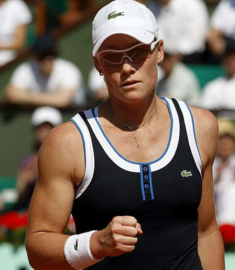Australia's Samantha Stosur reacts after defeating Serbia's Jelena Jankovic during a semifinal match for the French Open tennis tournament at the Roland Garros stadium in Paris, Thursday, June 3, 2010. Photo: Michel Euler, AP