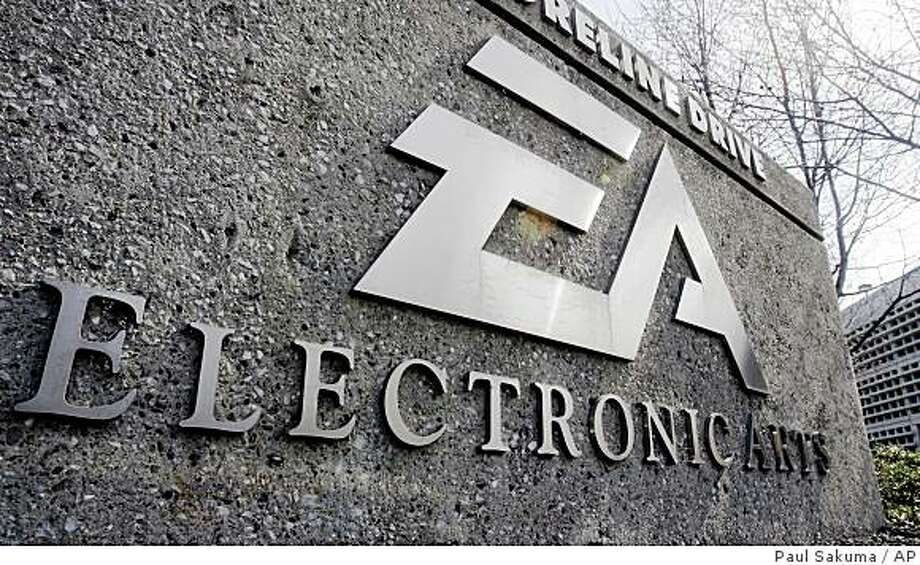 """Exterior view of Electronic Arts headquarters in Redwood City, Calif., Monday, Feb. 25, 2008.  Video game maker Electronic Arts Inc. on Monday urged the publisher of """"Grand Theft Auto"""" to quickly accept its unsolicited $2 billion takeover bid, saying it's only a matter of time before it declares """"game over"""" and pulls its premium offer.  EA wants an agreement on a deal before the release of """"Grand Theft Auto IV."""" Take-Two Interactive Software Inc. says it's willing to talk, but only after the next installment of its popular crime game goes on sale in April. (AP Photo/Paul Sakuma) Photo: Paul Sakuma, AP"""