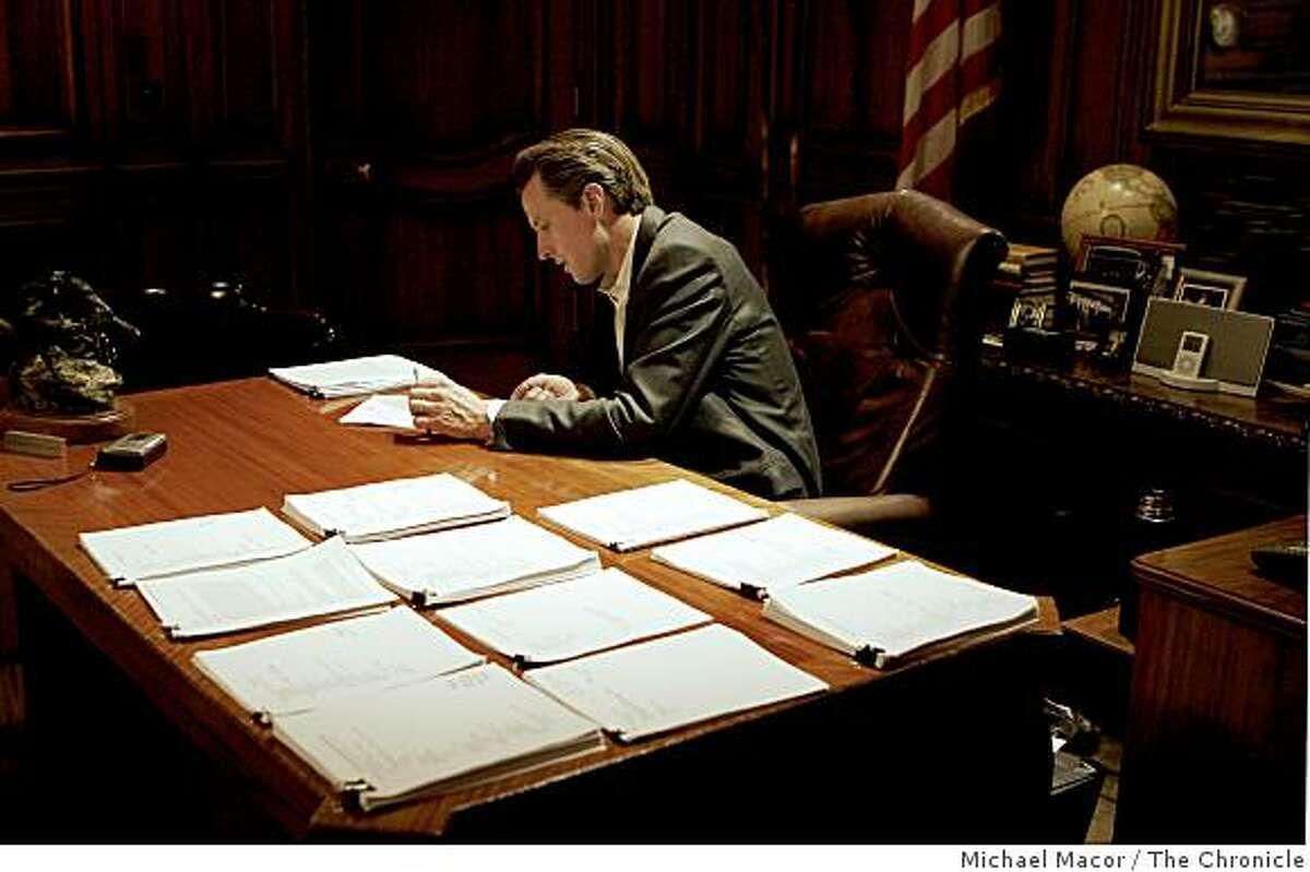 Mayor Gavin Newsom in his city hall offices in San Francisco, Calif. on Thursday Oct. 30, 2008.
