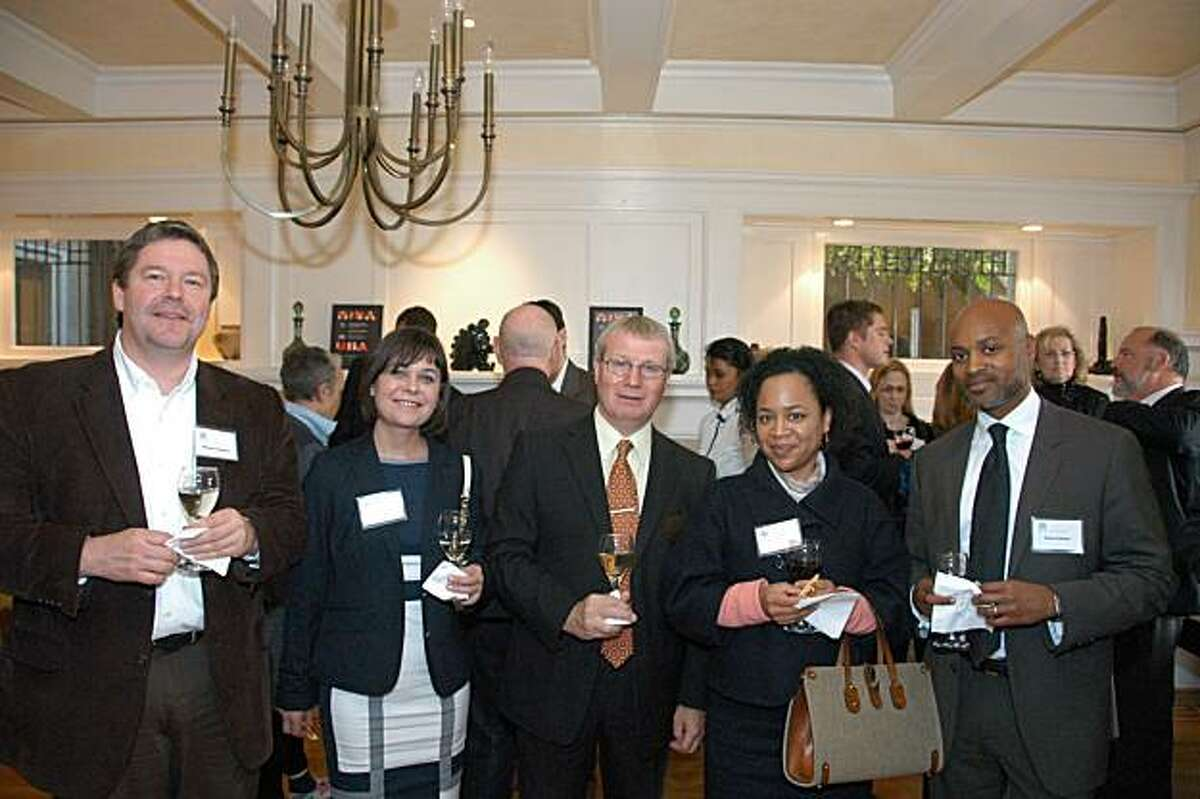 Architects Mike Pattinson and Leyla Hilmi, British Consul General Julian Evans, Daphne and Patrick Banks.