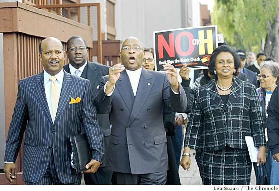 "From left: Rev. ""J"" Edgar Boyd, Rev. George Woodruff (behind and between Boyd and Brown), Rev. Amos Brown and Jane Brown march with members of several black congregations on Sunday, November 2, 2008 in San Francisco, Calif. The group walked from  Bethel A.M.E. church to City Hall. Photo: Lea Suzuki, The Chronicle"
