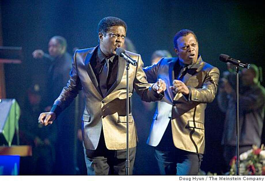 "Bernie Mac, left, and Samuel L. Jackson are shown in a scene from, ""Soul Men."" Photo: Doug Hyun, The Weinstein Company"