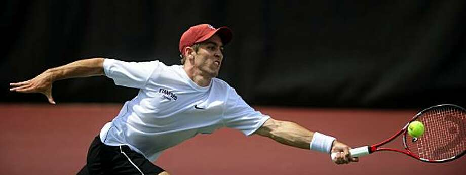 Stanford's Bradley Klahn lunges for the ball during his championship match against Austen Childs of Louisville at the NCAA 2010 Tennis Men's Singles National Championship on Monday, May 31, 2010 at the Dan Magill Tennis Complex in Athens, Ga. Klahn won 6-1,6-2. Photo: David Manning, AP