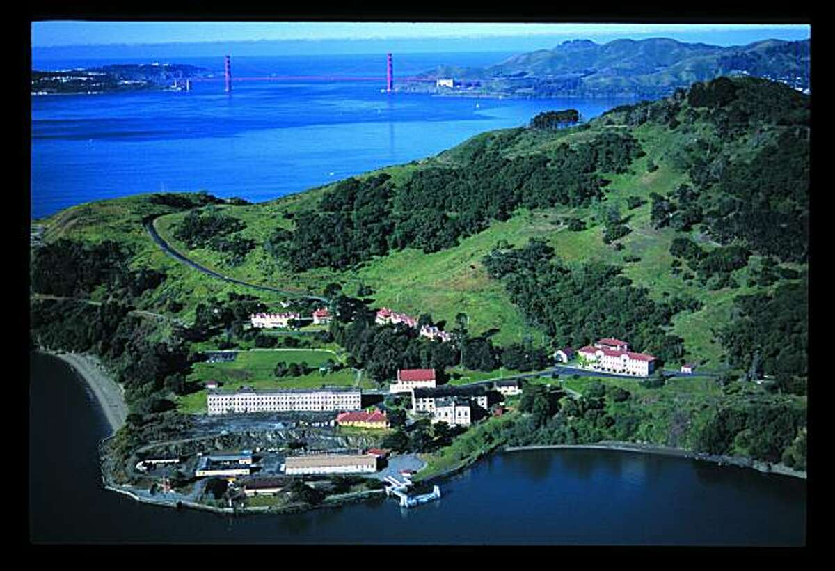 ANGEL ISLAND The popular tourist destination that was also used to house a Japanese Internment camp during World War II as seen from the air in