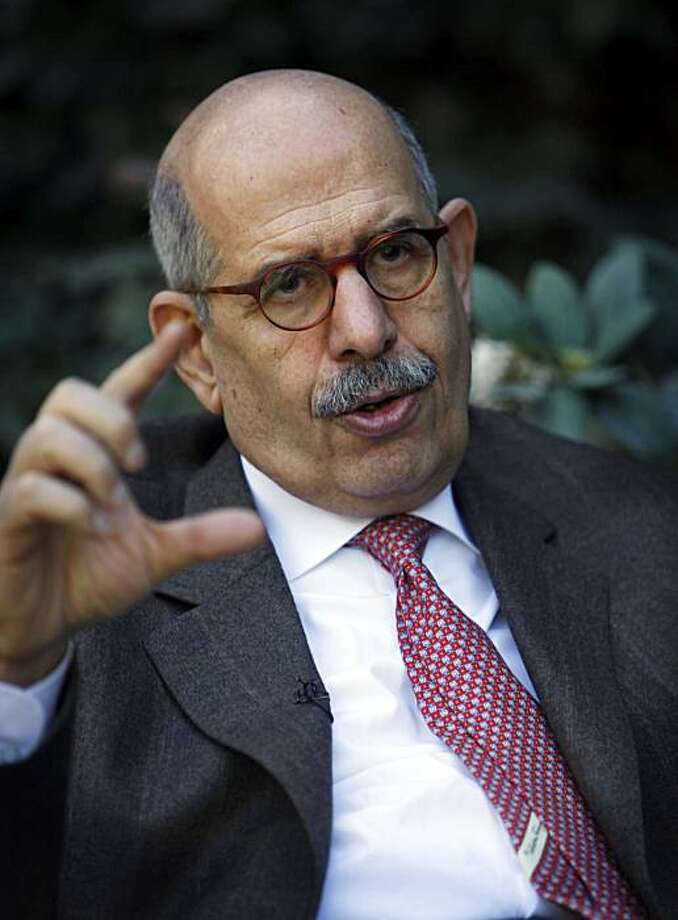 Former U.N. nuclear chief Mohamed el Baradei talks during an interview with the Associated Press at his house in the outskirts of Cairo, Egypt Saturday, Feb. 27, 2010. The ex-U.N. nuclear chief who has emerged as an opposition leader in Egypt urged the government Saturday to respond to peaceful demands for change, cautioning it could face a popular uprising if it doesn't. Photo: Nasser Nasser, AP