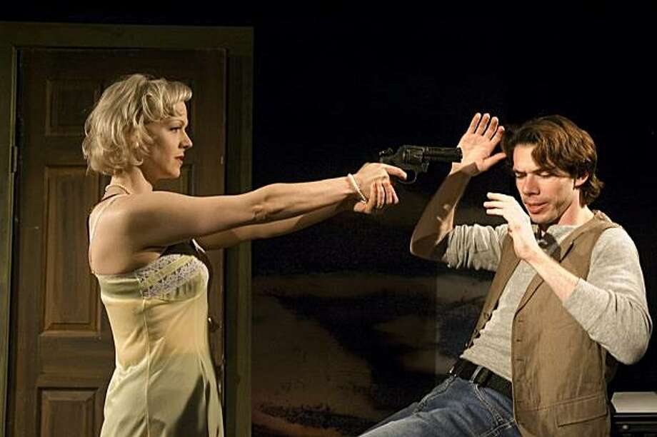 """Lola (Madeline H.D. Brown) gets a little too enthusiastic about sadistic sex games with Assy (Chad Deverman)  in William Bivins' """"The Apotheosis of Pig Husbandry"""" Photo: Nina Ball"""