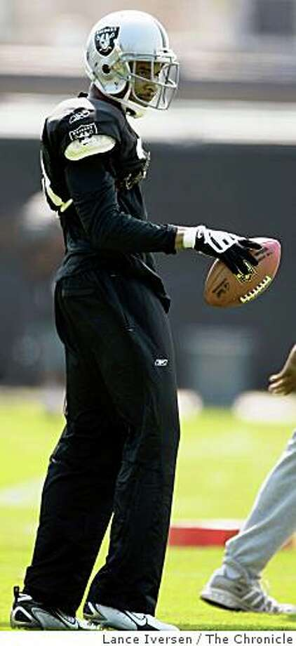 Raiders Nnamdi Asomugha works out the team in Napa Thursday July 24, 2008. The Oakland Raiders held their first training camp practice in Napa Thursday. Photographed in Napa, Photo by Lance Iversen / The Chronicle Photo: Lance Iversen, The Chronicle
