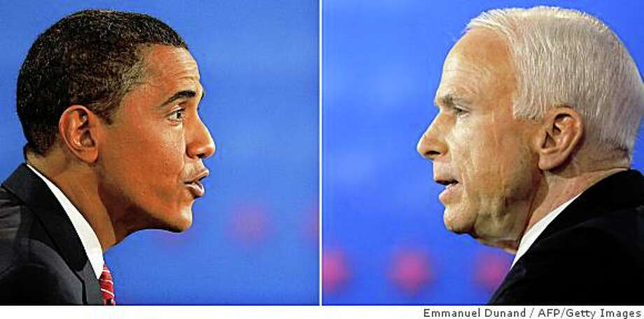 (FILES) A combination of two pictures shows Democrat Barack Obama (upper image) and Republican John McCain (lower image) speaking during their third and final presidential debate at Hofstra University on October 15, 2008 in Hempstead, New York. Democratic White House hopeful Barack Obama has maintained his lead over rival John McCain in the key battleground states of Florida, Ohio and Pennsylvania, according to a poll released on October 23, 2008. Twelve days before the November 4 election, Obama made gains in Ohio while his Republican rival chipped away only slightly at the Democrat's edge in Florida and Pennsylvania, the survey by Quinnipiac University found. AFP PHOTO / Stan Honda & Emmanuel Dunand (Photo credit should read EMMANUEL DUNAND/AFP/Getty Images) Photo: Emmanuel Dunand, AFP/Getty Images
