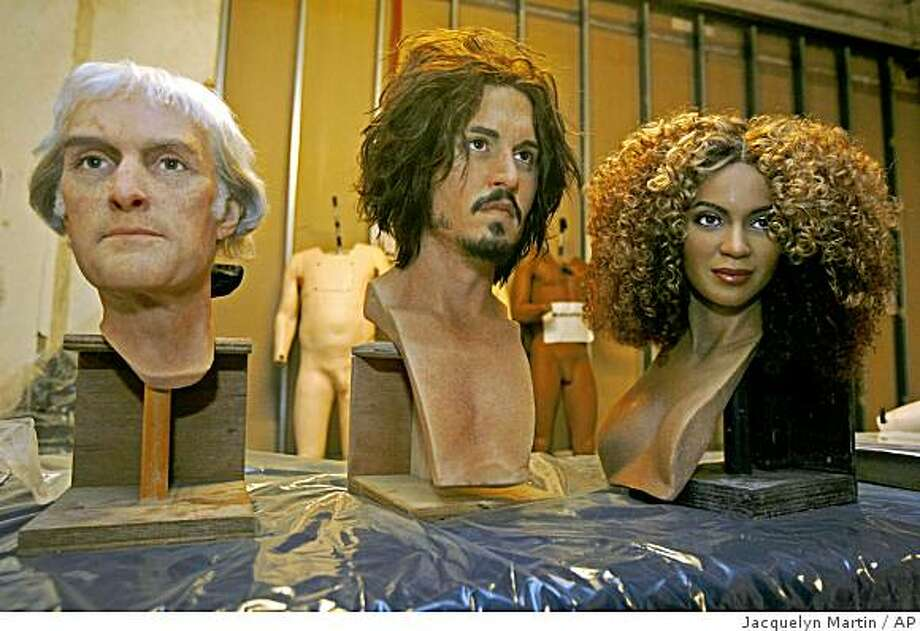 The wax heads for Thomas Jefferson, left, Johnny Depp, and Beyonce Knowles at the Madame Tussauds wax museum in Washington Photo: Jacquelyn Martin, AP