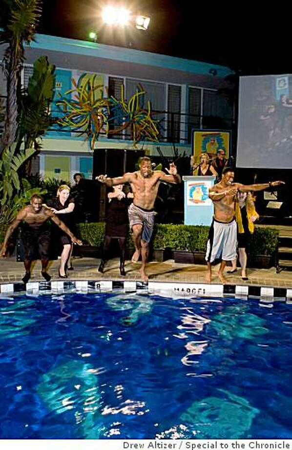 The 2008 TNDC Celebrity Pool Toss featured celebrities being tossed into the Phoenix Hotel pool to raise money for Tenderloin kids and families.  Arman Shields, John Bowie, Manny Lawson (Pool Toss) Photo: Drew Altizer, Special To The Chronicle