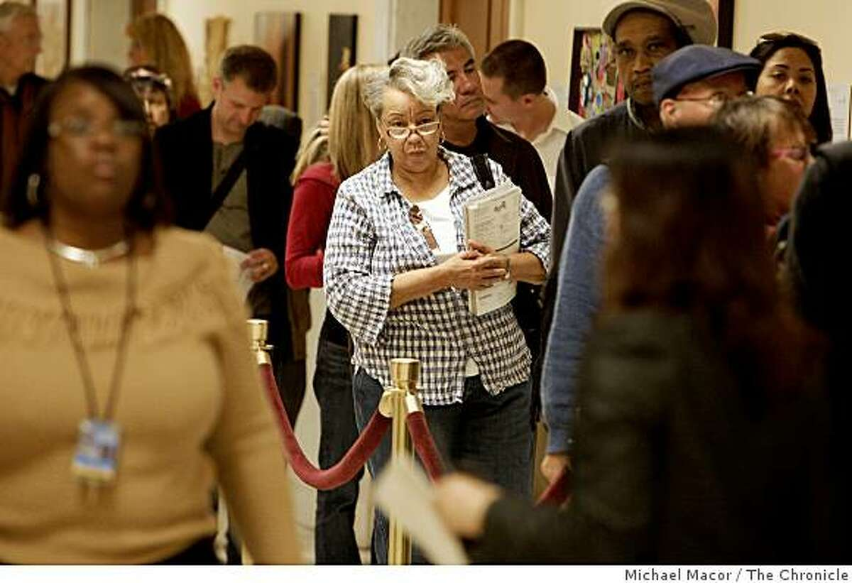 San Francisco resident Mary Robinson, 70, waits in line to cast her vote at City Hall on Wednesday, October 29, 2008.The NAACP and black churches are urging members to get to city hall and vote before next Tuesday in order to insure they are represented in this historical election.