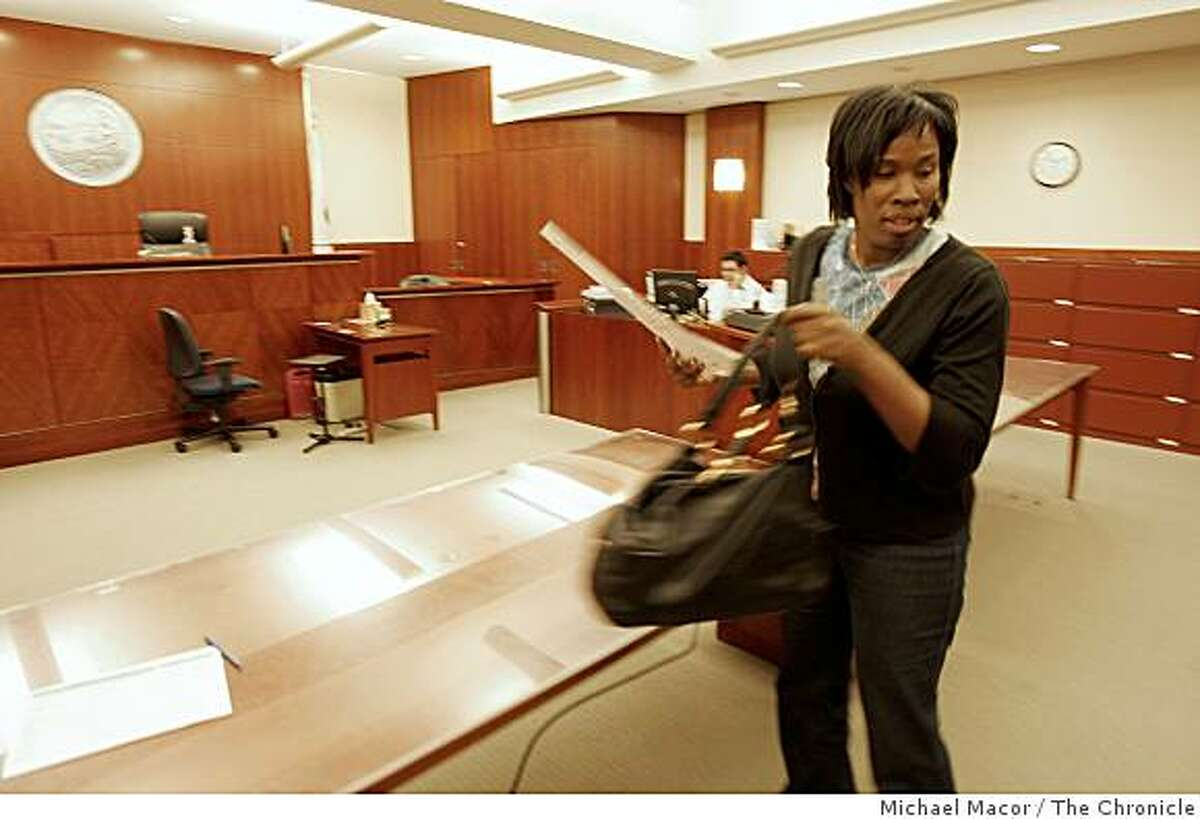 Kimberly Toney tries to straighten out her voter registration in California Superior Court on Wednesday, Oct. 29, 2008. Toney is trying to make sure she will be able to cast a ballot in next week's election.