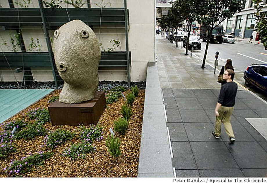 One of three public artworks by Ugo Rondinone can be seen in the new plaza at 555 mission street in San Francisco. Photo: Peter DaSilva, Special To The Chronicle