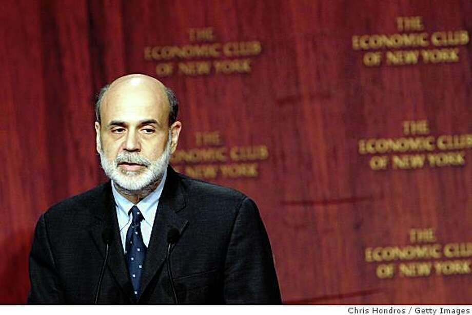 NEW YORK - OCTOBER 15:  Federal Reserve Chairman Ben Bernanke speaks at the Economic Club of New York October 15, 2008 in New York.  Chairman Bernanke addressed the fiscal crisis and outlined the Fed's response to the recent economic upheavals.  (Photo by Chris Hondros/Getty Images) Photo: Chris Hondros, Getty Images