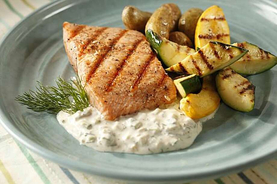Grilled Fish With Preserved Lemon Tzatziki: Use this spoonable sauce as a sandwich spread, or thin and use as a dip for crudites. Click here for the recipe.  Photo: Craig Lee, Special To The Chronicle