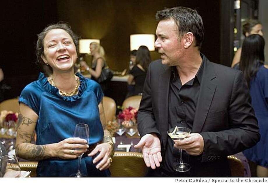 Anna Sheffield designer and Paul Overfeild, Cole Haan Design Director chat  over cocktails before a