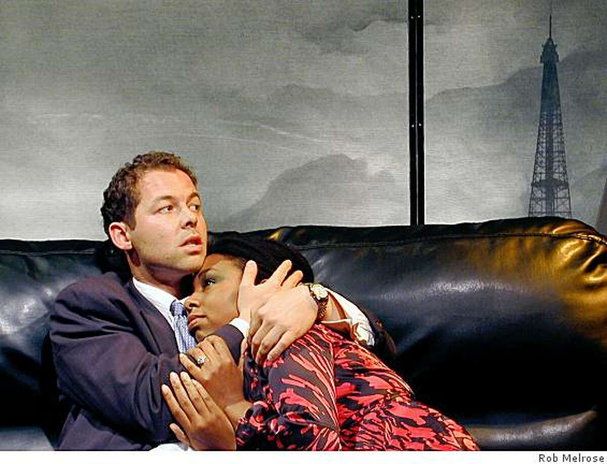 Ryan Oden (left) as the Detective and Felicia Benefield as Madeleine (left) in Cutting Ball's staging of Eugene Ionesco's